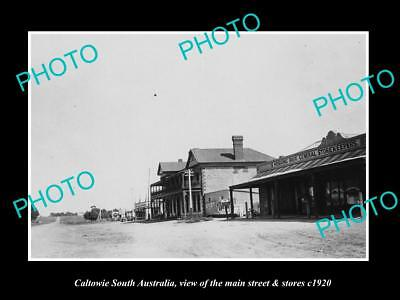 OLD LARGE HISTORIC PHOTO OF CALTOWIE SOUTH AUSTRALIA, THE MAIN St & STORES c1920