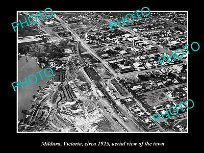 OLD LARGE HISTORIC PHOTO OF MILDURA VICTORIA, AERIAL VIEW OF THE TOWN c1925