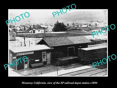 OLD LARGE HISTORIC PHOTO OF MONTEREY CALIFORNIA, THE SP RAILROAD DEPOT c1890