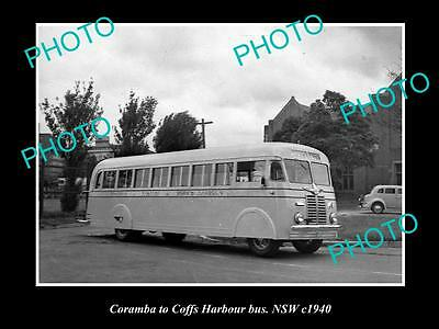 OLD LARGE HISTORIC PHOTO OF THE CORAMBA to COFFS HARBOUR BUS SERVICE c1940, NSW