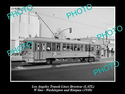OLD LARGE HISTORIC PHOTO OF LOS ANGELES TRANSIT LINES STREETCAR, CAR 1380 c1940s