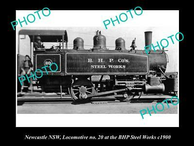 OLD LARGE HISTORICAL PHOTO OF THE BHP STEEL WORKS LOCOMOTIVE, NEWCASTLE c1900