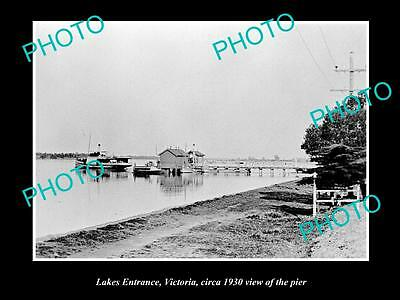 Old Large Historic Photo Of Lakes Entrance Victoria, View Of The Pier 1930