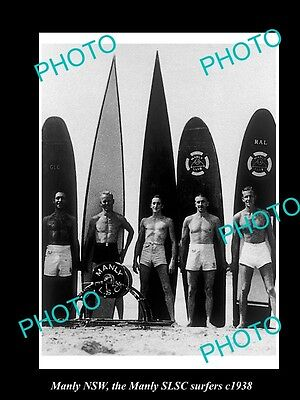 OLD LARGE HISTORIC PHOTO OF MANLY NSW, THE SLSC SURFERS & THEIR BOARDS c1938