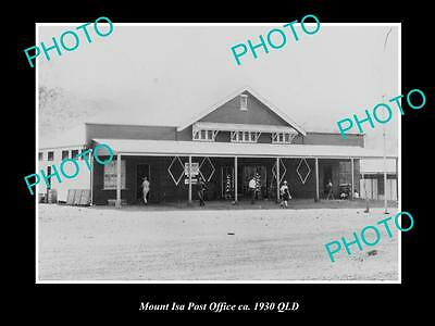 OLD LARGE HISTORIC PHOTO OF MOUNT ISA QLD, VIEW OF THE TOWN POST OFFICE c1930
