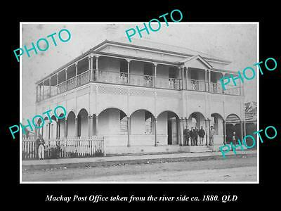 OLD LARGE HISTORIC PHOTO OF MACKAY QLD, VIEW OF THE POST OFFICE c1880