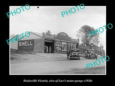 Old Large Historic Photo Of Healesville Victoria, View Of Laws Motor Garage 1920