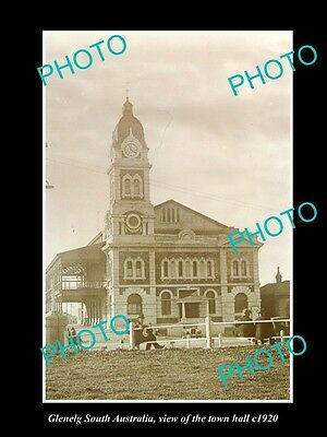 OLD LARGE HISTORIC PHOTO OF GLENELG SOUTH AUSTRALIA, THE TOWN HALL c1920