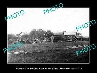 Old Historic Photo Of Potsdam New York, The Barnum & Bailey Train Wreck 1889 2