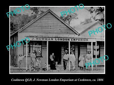 OLD LARGE HISTORIC PHOTO OF COOKTOWN QLD, VIEW OF THE LONDON EMPORIUM SHOP c1886