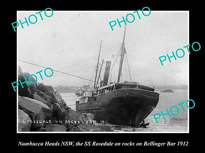 Old Large Historical Photo Of Nambucca Heads Nsw, The Ss Rosedale Shipwreck 1912