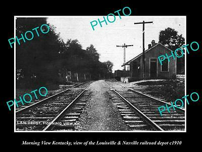 OLD LARGE HISTORIC PHOTO OF MORNING VIEW KENTUCKY, THE L&N RAILROAD DEPOT c1910