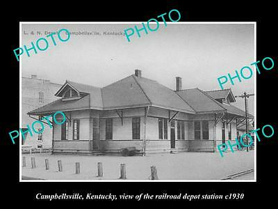 Old Large Historic Photo Of Campbellsville Kentucky, Railroad Depot Station 1930