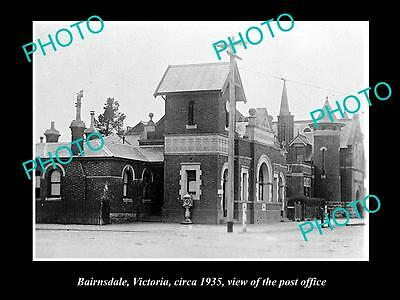 OLD LARGE HISTORIC PHOTO OF BAIRNSDALE VICTORIA, VIEW OF THE POST OFFICE c1935