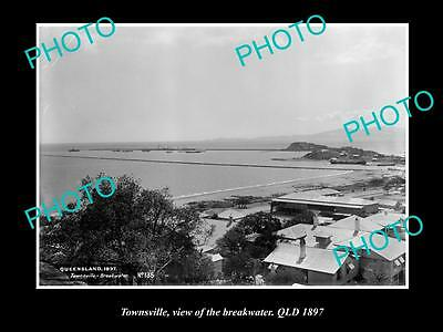 Old Large Historic Photo Of Townsville Qld, View Of The Breakwater 1897
