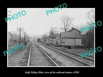 OLD LARGE HISTORIC PHOTO OF NEFFS SIDING OHIO, VIEW OF THE RAILROAD DEPOT c1920