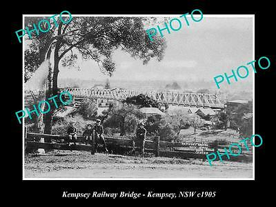 OLD LARGE HISTORICAL PHOTO OF KEMPSEY NSW, VIEW OF THE RAILWAY BRIDGE c1905