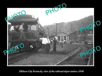 OLD LARGE HISTORIC PHOTO OF ELKHORN CITY KENTUCKY RAILROAD DEPOT STATION c1930