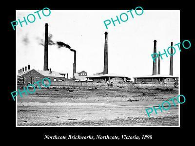 OLD LARGE HISTORIC PHOTO OF NORTHCOTE VICTORIA, VIEW OF THE BRICKWORKS c1898