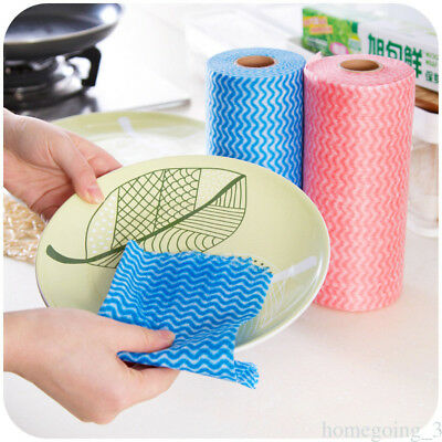 50pcs Disposable Kitchen Non-woven Fabric Washable Cleaning Dishcloth Wipe Roll