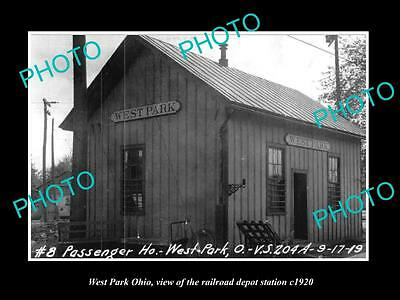 OLD LARGE HISTORIC PHOTO OF WEST PARK OHIO, THE RAILROAD DEPOT STATION c1920