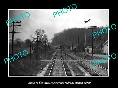 OLD LARGE HISTORIC PHOTO OF KUTTAWA KENTUCKY, THE RAILROAD DEPOT STATION c1940