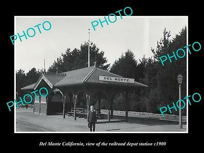 OLD LARGE HISTORIC PHOTO OF DEL MONTE CALIFORNIA, RAILROAD DEPOT STATION c1900