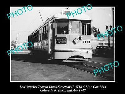 OLD LARGE HISTORIC PHOTO OF LOS ANGELES TRANSIT LINES STREETCAR, CAR 1444 c1947