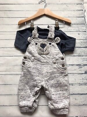 Baby Boys Clothes Outfits  0-3 Months- Cute Teddy Bear Dungarees Outfit & Top