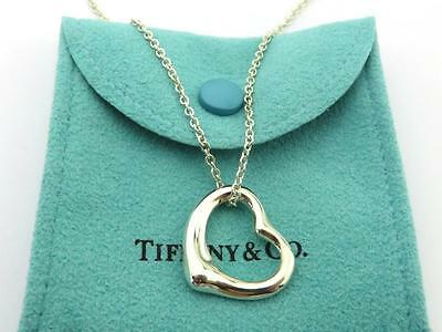 Authentic TIFFANY & CO Sterling Silver Medium Open Heart Pendant Necklace