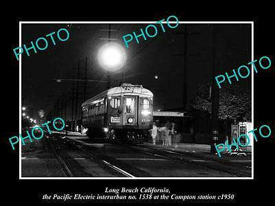 Old Large Historic Photo Of Compton California, Pacific Electric Rail Depot 1950