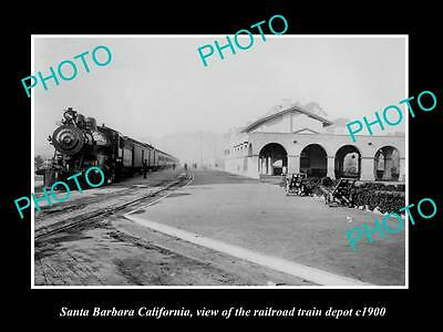 OLD LARGE HISTORIC PHOTO OF SANTA BARBARA CALIFORNIA, THE RAILROAD DEPOT c1900