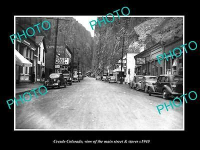 OLD LARGE HISTORIC PHOTO OF CREEDE COLORADO, THE MAIN STREET & STORES c1940