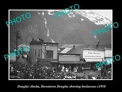 OLD LARGE HISTORIC PHOTO OF DOUGLAS ALASKA, VIEW OF THE TOWN SHOPS c1910