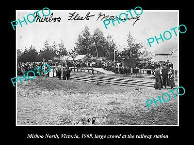 OLD LARGE HISTORIC PHOTO OF MIRBOO NORTH, LARGE CROWD AT RAILWAY STATION c1908