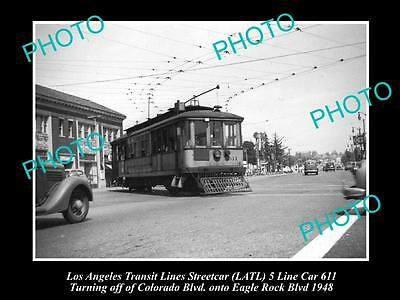 LARGE HISTORIC PHOTO OF LOS ANGELES TRANSIT LINES STREETCAR, CAR 611 c1948