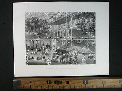 1861 Crystal Palace Exhibition London Esposizione Londra Antica Stampa D380