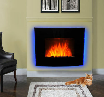 Led Curved Glass Electric Wall Mounted Fire Place Fireplace Heater Flame Effect