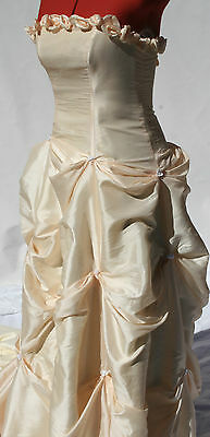 VINTAGE WEDDING DRESS 1990s size 10 Pale Apricot Up Style Remake War on Waste!