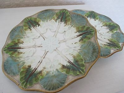 Pair of 19th Century Majolica Lilly Pad Plates - Marked to Base