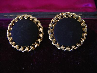 VINTAGE 1950/60s LARGE PAIR OF BLACK SUEDE & GOLD METAL TWIST SHOE CLIPS..WOW