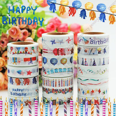 Birthday Party Washi Paper Tape Handmade Craft Scrapbook Gift Wrap Home Decor