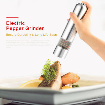 Light Up Electric Salt / Pepper Mill Stainless Steel Electronic Grinder Pot