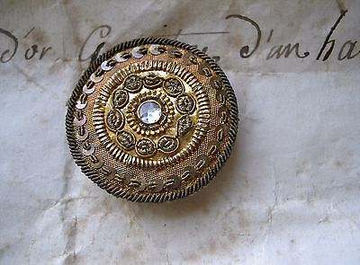 1  Rare French Antique Passementerie Button Gold Thread Early 18 Th Century