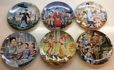 Set of 6 Disney Marry Poppins Plates by Edwin M. Knowles for Disney With COAs!