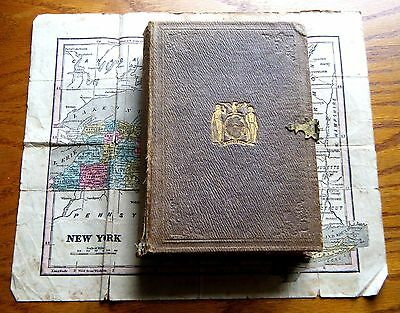 1854 Rare Mitchell's Dissected Maps NEW YORK STATE Puzzle Book Box Map