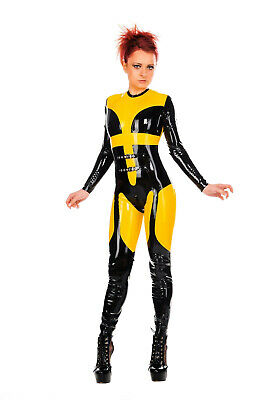 Latex Catsuit mit Schnallen, Damen, schwarz, transparent, Rubber, Gummi, sexy