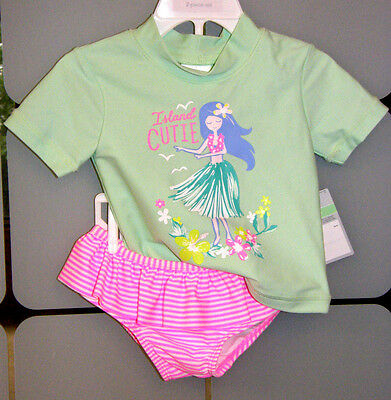 NWT! CARTER'S Infant Girls 2 Piece Swimsuit UPF 50+ SIZE 18 mo Mint Green Pink