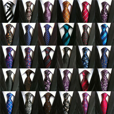 Lot Mens Classic 100% Silk Tie Necktie Striped White Black JACQUARD Neck Ties