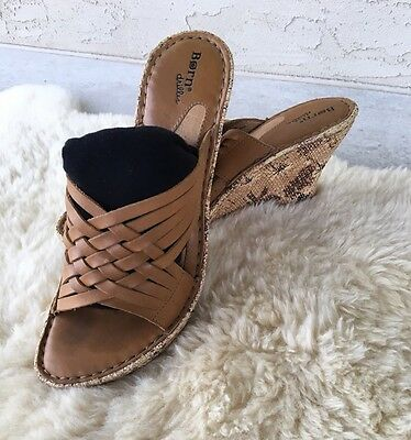 Women's Born Drilles Brown Strappy Wedge Heel Sandals Size 40.5 US 9